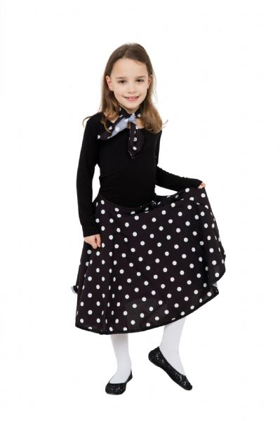 Girls Rock 'N' Roll Skirt Costume Rockabilly 60s Vintage Retro Fancy Dress